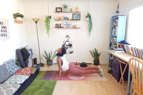 Brandi Jackson, yoga, pretty apartment