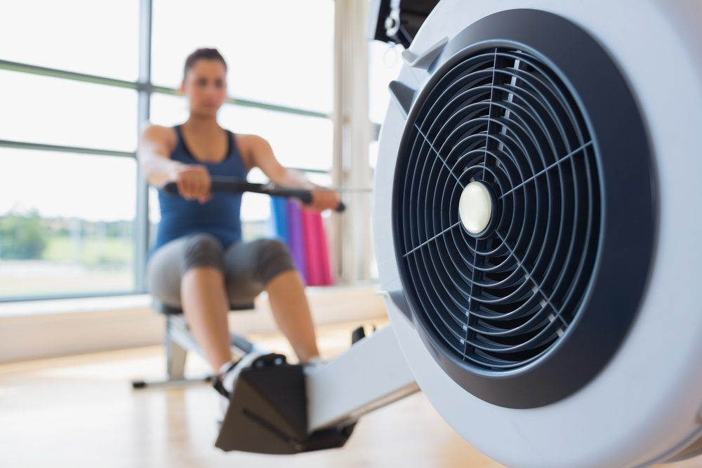 Rowing machine being used in fitness studio
